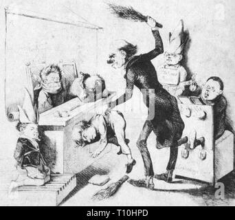 events, revolutions 1848 - 1849, Germany, 'Die unartigen Kinder' (The Naughty Children), drawing, 1849, Artist's Copyright has not to be cleared - Stock Photo