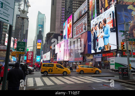Billboards for musical shows in Times Square, New York City, NY, USA. - Stock Photo