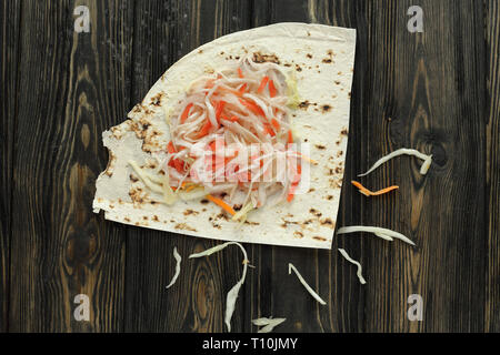 pita bread and pickled cabbage for making homemade Shawarma - Stock Photo