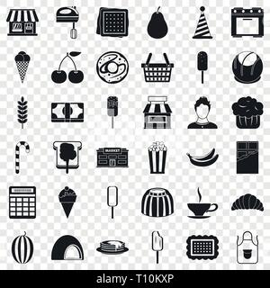 Chocolate icons set, simple style - Stock Photo