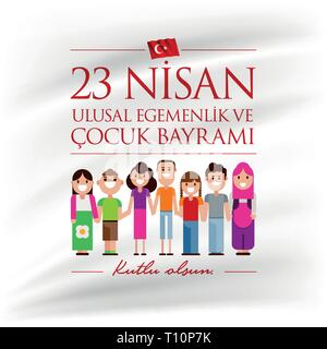Vector illustration of the 23 Nisan Cocuk Bayrami, April 23 Turkish National Sovereignty and Children's Day, design template for the Turkish holiday. - Stock Photo