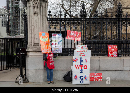 As Prime Minister Theresa May petitions European leaders in Brussels, this time to persuade the European Council to accept a delay of the UK's Brexit Article 50, Brexiteers protest outside parliament in Westminster, on 21st March 2019, in London, England. - Stock Photo