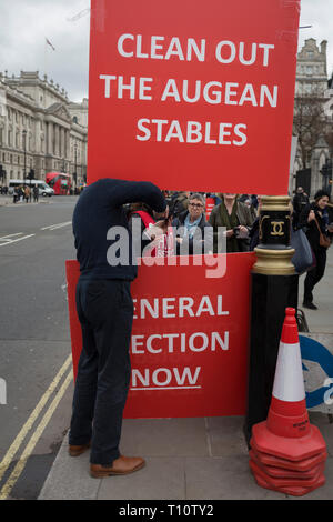 A day after Commons Speaker John Bercow announced his refusal to accept Prime Minster Theresa May's third Brexit Meaningful Vote, a Brexiteer holds a sign that refers to the stables in which the mythical Argonaut King Augeas kept 3000 oxen, and which had not been cleaned for 30 years. The cleaning of these stables was accomplished by Hercules, on 19th March 2019, in London, England. - Stock Photo