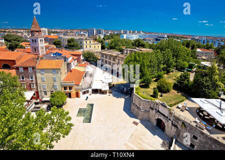 City of Zadar landmarks and cityscape aerial view, Dalmatia region of Croatia - Stock Photo