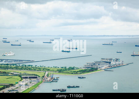 May 01 2018 - Straits View aerial landscape, undeveloped planning region besides Marina Bay and Downtown Core of Singapore - Stock Photo