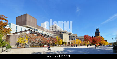 Harvard University Science Center plaza in the fall, panoramic view - Stock Photo