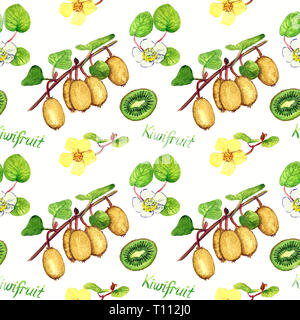 Kiwifruit branches with ripe fruits, male and female flowers, cut half with inscription, bright colors palette, seamless pattern design, hand painted  - Stock Photo
