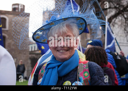 London, UK. 19 March, 2019. Pro-Europe supporter demonstrates, in College Green, Westminster. MPs debate Brexit deal. - Stock Photo