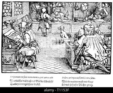 writing, scribes, scholars in an office, 'Trostspiegel', woodcut by the Master of the Trostspiegel, 6th edition, printed by Vincenz Steinmeyer, Frankfurt am Main, 1620, Additional-Rights-Clearance-Info-Not-Available - Stock Photo