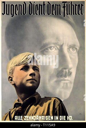Nazism / National Socialism, organisations, Hitler Youth Junior Section, poster 'Jugend dient dem Fuehrer' (Youth Is Serving the Fuehrer), design: Hein Neuner (1910 - 1984), 1939, Additional-Rights-Clearance-Info-Not-Available - Stock Photo