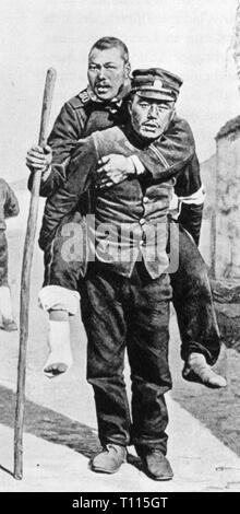 Russo-Japanese war 1904 - 1905, a Japanese soldier is carrying a wounded Russian soldier, summer 1905, Russo - Japanese, army, armies, military, hurt, Manchuria, China, empires, Japan, Japanese empire, 20th century, 1900s, war, wars, soldier, soldiers, carrying, carry, casualty, casualties, historic, historical, people, Additional-Rights-Clearance-Info-Not-Available - Stock Photo