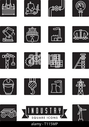 Collection of industry themed square black vector line icons - Stock Photo