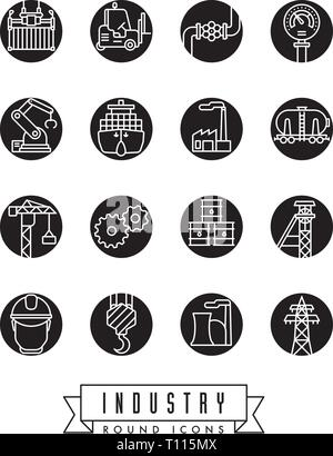 Collection of industry themed round vector icons, white lines in colored circles - Stock Photo