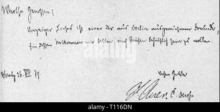 politics, labour movement, Germany, legitimation card of the Socialistic Labour Party of Germany for an expelled comrade from Berlin, signed by Iganz Auer, Hamburg, 16.8.1879, Additional-Rights-Clearance-Info-Not-Available - Stock Photo