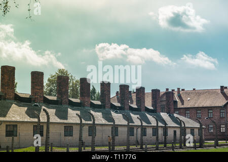 Chimneys of the buildings where the bodies of the dead Jews were burned in the concentration fields of Auschwitz and birkenau in Poland - Stock Photo