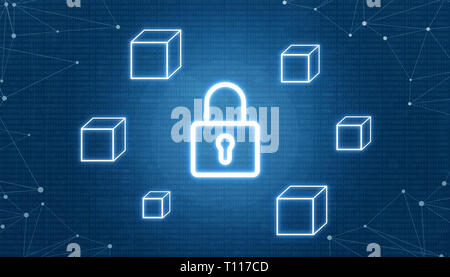 Blockchain security concept. Padlock surrounded with empty blocks. Network thread beside. Binary code in background. - Stock Photo