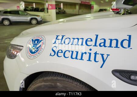 Close-up of logo for the United States Department of Homeland Security on an emergency vehicle in San Francisco, California, February 25, 2019. () - Stock Photo