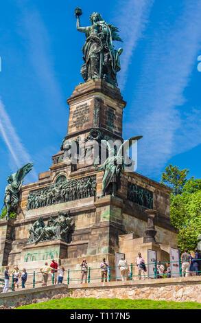 Great image of the Niederwalddenkmal in portrait format, a monument located in the Niederwald, near Rüdesheim am Rhein in Hesse, Germany. The Germania... - Stock Photo