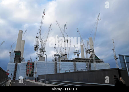 Battersea Power Station under construction during redevelopment & cranes view from walkthrough trail in Wandsworth South London SW8  UK  KATHY DEWITT - Stock Photo