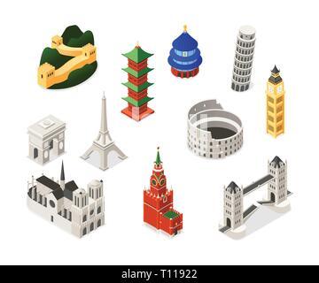 World famous landmarks - colorful isometric set of objects. Buildings, architecture. Notre-Dame de Paris, Triumphal arch, Big Ben, Pisa, Eiffel Tower, - Stock Photo
