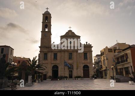 Presentation of the Virgin Mary Holy Metropolitan Orthodox church at city of Chania, island of Crete, Greece - Stock Photo