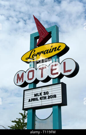Sign of the Lorraine Motel, where Martin Luther King Jr. was assassinated on April 4, 1968, now the National Civil Rights Museum, Memphis, Tennessee.