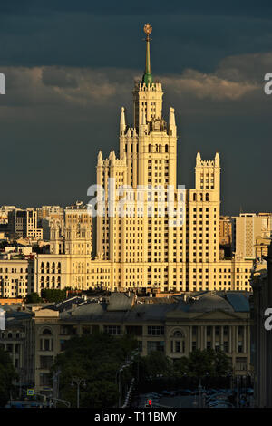 MOSCOW, AUGUST 7, 2018: Tall residential building on Kotelnicheskaya embankment of the Moscow river. One of the seven skyscrapers of Stalin's era, so