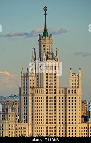 MOSCOW, AUGUST 8, 2018: Tall residential building on Kotelnicheskaya embankment of the Moscow river. One of the seven skyscrapers of Stalin's era, so