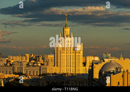 MOSCOW, AUGUST 8, 2018: Tall residential building on Kotelnicheskaya embankment of the Moscow river. One of the seven skyscrapers of Stalin's era, so  - Stock Photo