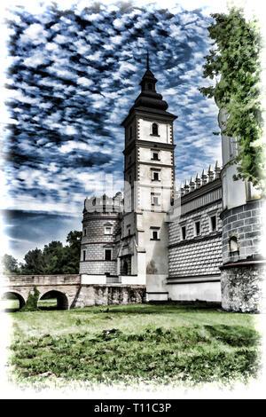 Krasiczyn Castle in Southern Poland - Stock Photo