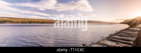 Panorama stitch as the sun sets over Loch Ness, November 2017 - Stock Photo