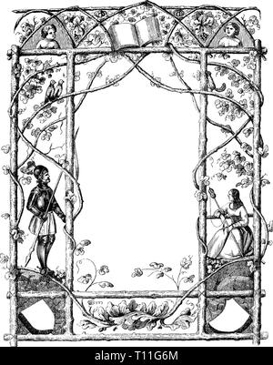 Vintage antique line drawing or engraving of ornate frame with natural theme and with knight and woman. Prague Messenger 1846. Author not defined. - Stock Photo