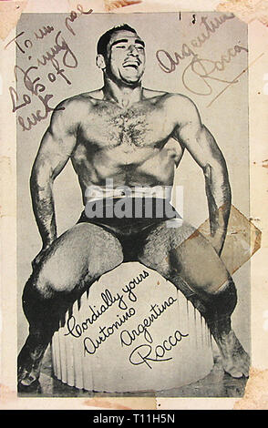 Photos of early America-Autographed photo of Antonino Rocca, an Italian Argentinian professional wrestler. Stock Photo