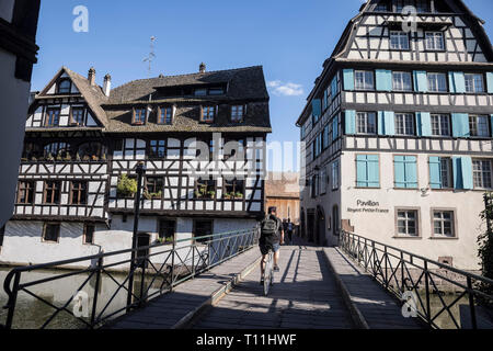 "Strasbourg (north-eastern France): traditional houses along the quays ""quais de l'Ill"", in the district of 'Petite France"", ""rue des Moulins"" street * - Stock Photo"