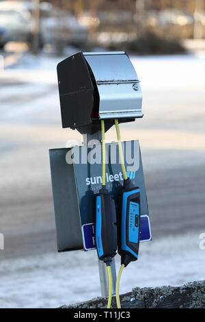 Charging station for electric cars. Linköping, Sweden. Jeppe Gustafsson - Stock Photo