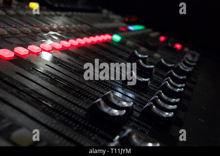 Console for acoustics to control concert - Stock Photo