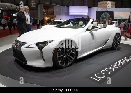 GENEVA, SWITZERLAND - MARCH 6, 2019: Lexus LC Convertible Concept car showcased at the 89th Geneva International Motor Show. - Stock Photo