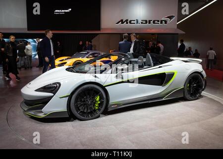 GENEVA, SWITZERLAND - MARCH 5, 2019: McLaren 600LT sports car showcased at the 89th Geneva International Motor Show. - Stock Photo