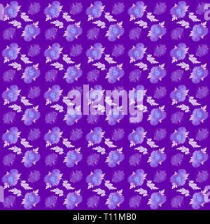 Vintage floral seamless pattern. Chrysanthemum Flowers background. Beautiful floral seamless texture with chrysanthemums on purple backdrop - Stock Photo