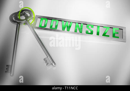 Downsize Home Keys Means Downsizing Property Due To Retirement Or Budget. Find A Tiny House Or Apartment - 3d Illustration - Stock Photo