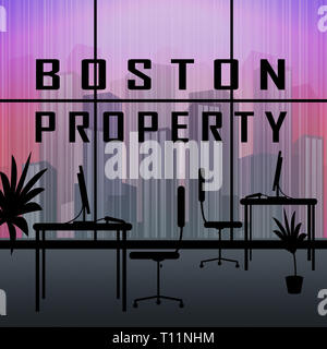 Boston Property Apartment Shows Real Estate In Massachusetts Usa. Housing Purchase Or Realty Rental 3d Illustration - Stock Photo