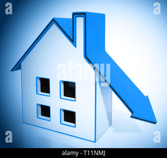 Downsize Home House Means Downsizing Property Due To Retirement Or Budget. Find A Tiny House Or Apartment - 3d Illustration - Stock Photo