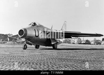 The Saab 29 Tunnan is a Swedish fighter that was designed and manufactured by Saab in the 1940s. It was Sweden's second turbojet-powered combat aircraft, the first having been the Saab 21R; additionally, it was the first Western European fighter to be produced with a swept wing after the Second World War, the Me 262 having been the first during the war. Despite its rotund appearance, from which its name derives, the J 29 was a fast and agile aircraft for its era. It served effectively in both fighter and fighter-bomber roles into the 1970s. - Stock Photo