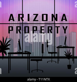 Arizona Property Highrise Shows Real Estate Broker In Az United States 3d Illustration - Stock Photo