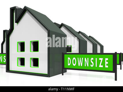 Downsize Home Icons Means Downsizing Property Due To Retirement Or Budget. Find A Tiny House Or Apartment - 3d Illustration - Stock Photo