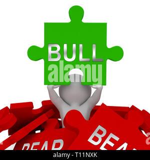 Bull Vs Bear Market Jigsaw Means Profit Or Loss Investment Trading. Forex Shares Or Bond Markets 3d Illustration - Stock Photo