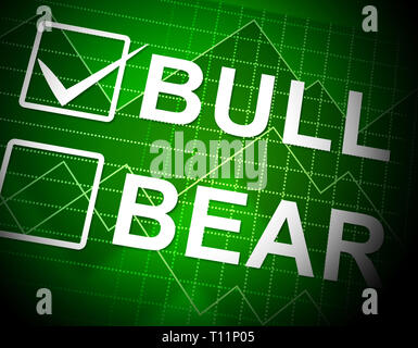 Bull Vs Bear Market Graph Means Profit Or Loss Investment Trading. Forex Shares Or Bond Markets 3d Illustration - Stock Photo
