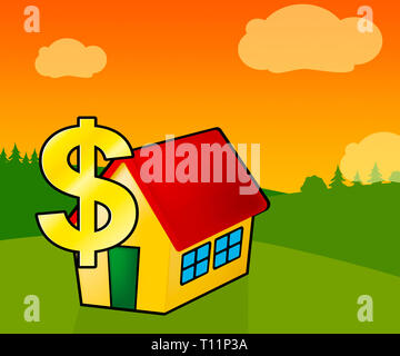 Downsize Home Icon Means Downsizing Property Due To Retirement Or Budget. Find A Tiny House Or Apartment - 3d Illustration - Stock Photo