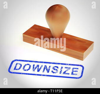 Downsize Home Stamp Means Downsizing Property Due To Retirement Or Budget. Find A Tiny House Or Apartment - 3d Illustration - Stock Photo