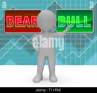 Bull Vs Bear Market Signs Means Profit Or Loss Investment Trading. Forex Shares Or Bond Markets 3d Illustration - Stock Photo